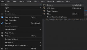 Screenshot Showing File, new project in Visual Studio