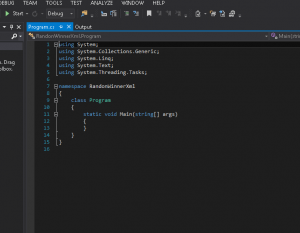 A blank visual studio project, showing the program.cs