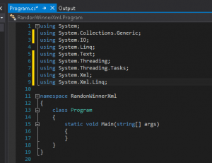 Close up of Visual Studio Using statements