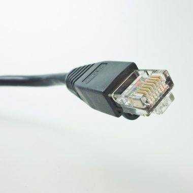 An image of RJ45 wiring inside a patch cable.