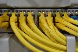 A patch panel with RJ45 connectors.