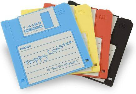 A real throw back to the 90's! Grab these floppy disk coasters for the PC geek in your life.