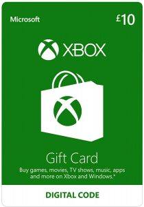 A photo of an XBOX Live £12 top up digital download gift.