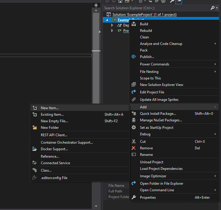 Add an existing item to the C# project.