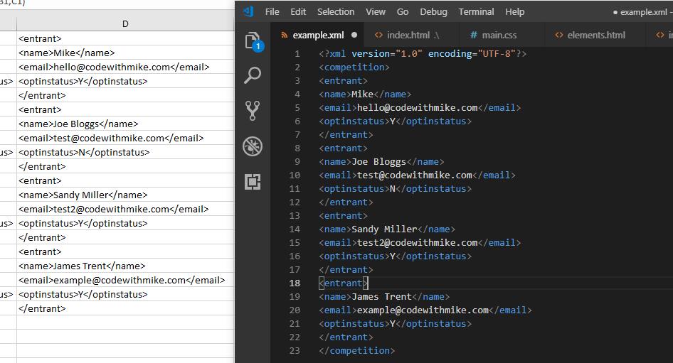 Finished XML file.