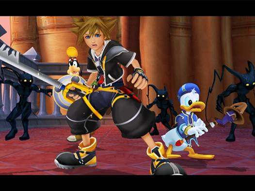 As with the original game, KH2 features the Heartless! Here you can see Daffy Duck and Sora tackling a bunch of the evil antagonists.