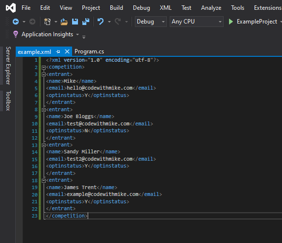 Here you can see the finished XML file inside Visual Studio