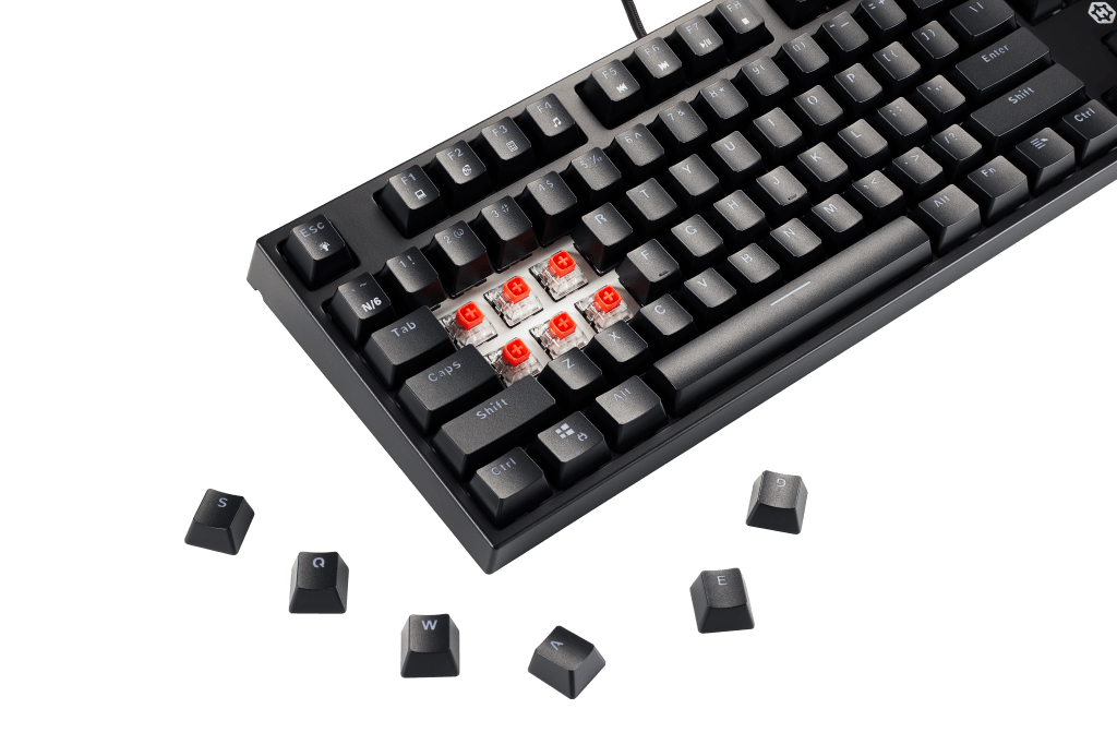 An image showing the red keyboard switches on the Hexgears K520.