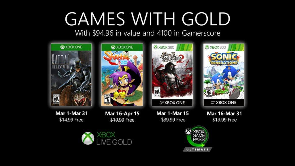 Xbox Games with Gold March 2020 have been announced.