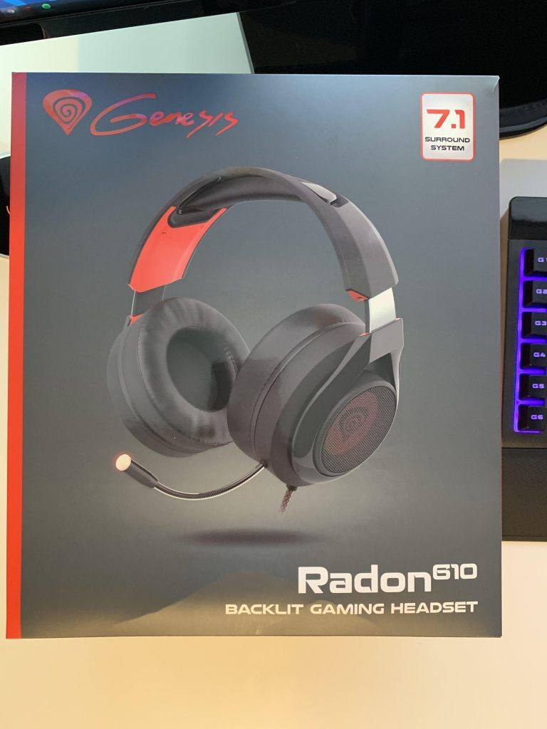 This image shows the Radon 610 Gaming Headset Packaging
