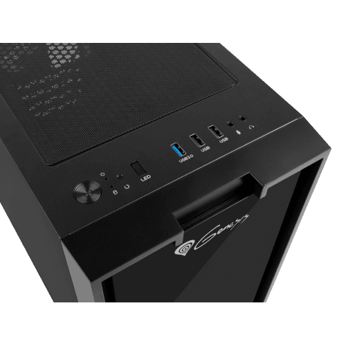 The top of the case features the usb and audio ports.