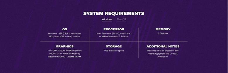Windows System Requirements for Football Manager.