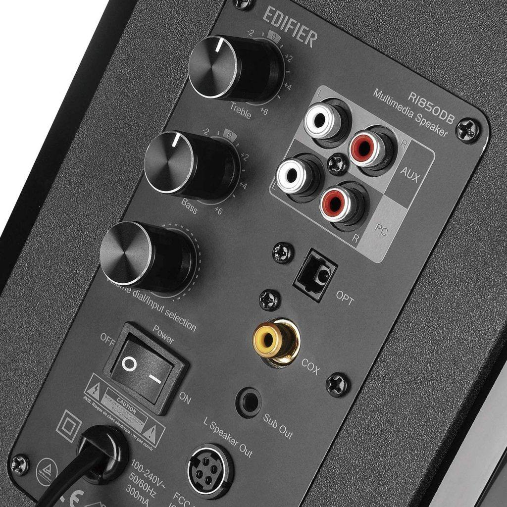 Edifier R1850DB Review: The controls on the back are really useful.