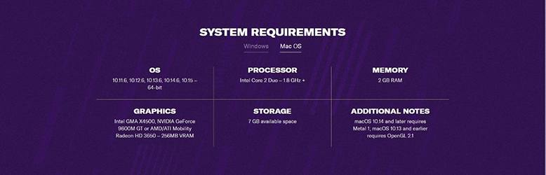 Mac OS System Requirements for Football Manager.
