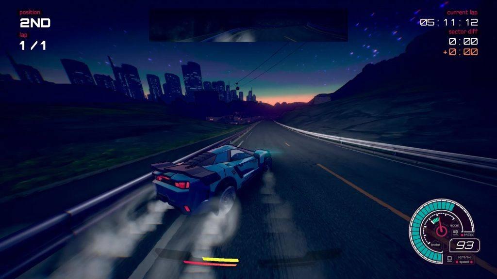Inertial Drift Nintendo Switch Release Date: The neon illuminated skyline is brilliant.