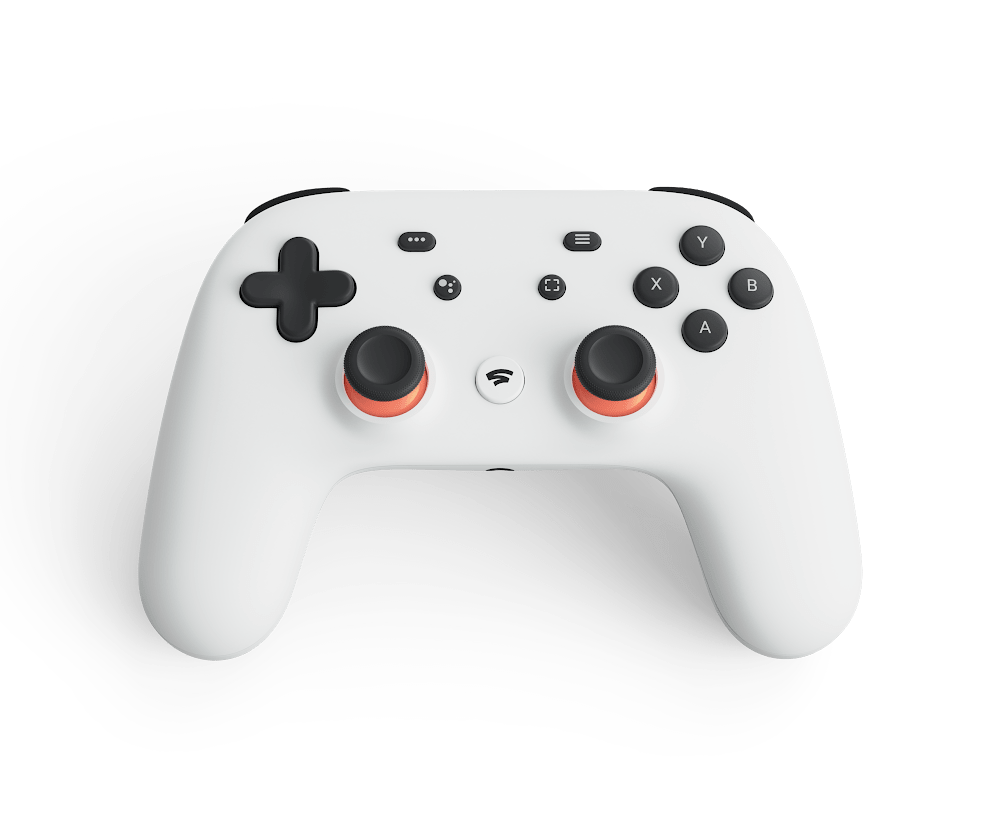 The original white controller for Stadia.