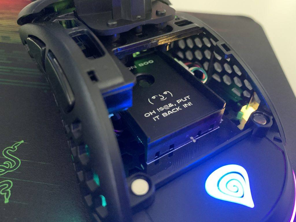 The internals of the Genesis Xenon 800 Gaming Mouse
